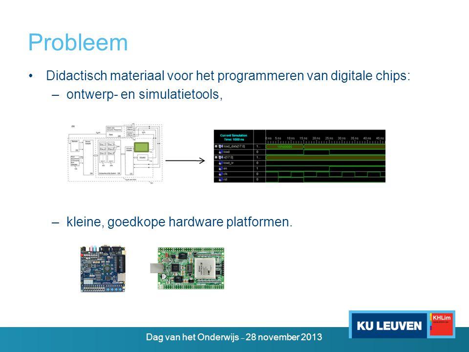 Probleem •Didactisch materiaal voor het programmeren van digitale chips: –ontwerp- en simulatietools, –kleine, goedkope hardware platformen.
