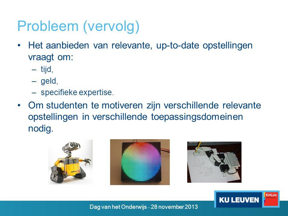 eDiViDe – doelstellingen •Bundeling van expertise in Europa •Relevante, up-to-date elektronische opstellingen –motivatie van de studenten –betere afstemming op het werkveld en het onderzoek •Toegankelijkheid van de elektronica-practica –overal (ook buiten de schoolmuren) –altijd (continu beschikbaar) Dag van het Onderwijs – 28 november 2013