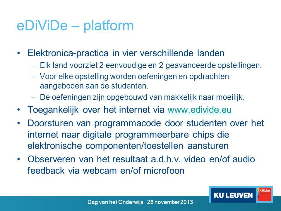 eDiViDe+ – doelstellingen •Inbedding van eDiViDe in Toledo •Ontwikkeling van leer- en toetsmodules voor studenten en docenten in de associatie •Ontwikkeling van een handleiding voor het toevoegen van elektronische opstellingen aan het eDiViDe-platform door associatiepartners •Toevoeging van elektronische opstellingen door de associatiepartners Dag van het Onderwijs – 28 november 2013