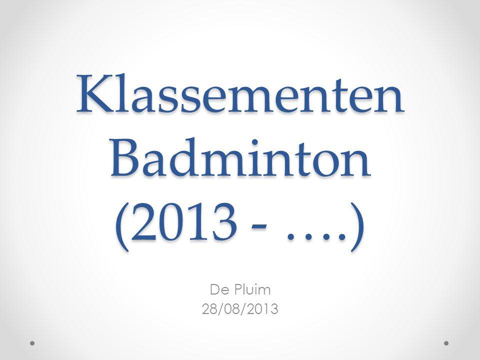 Klassementen Badminton (2013 - ….) De Pluim 28/08/2013