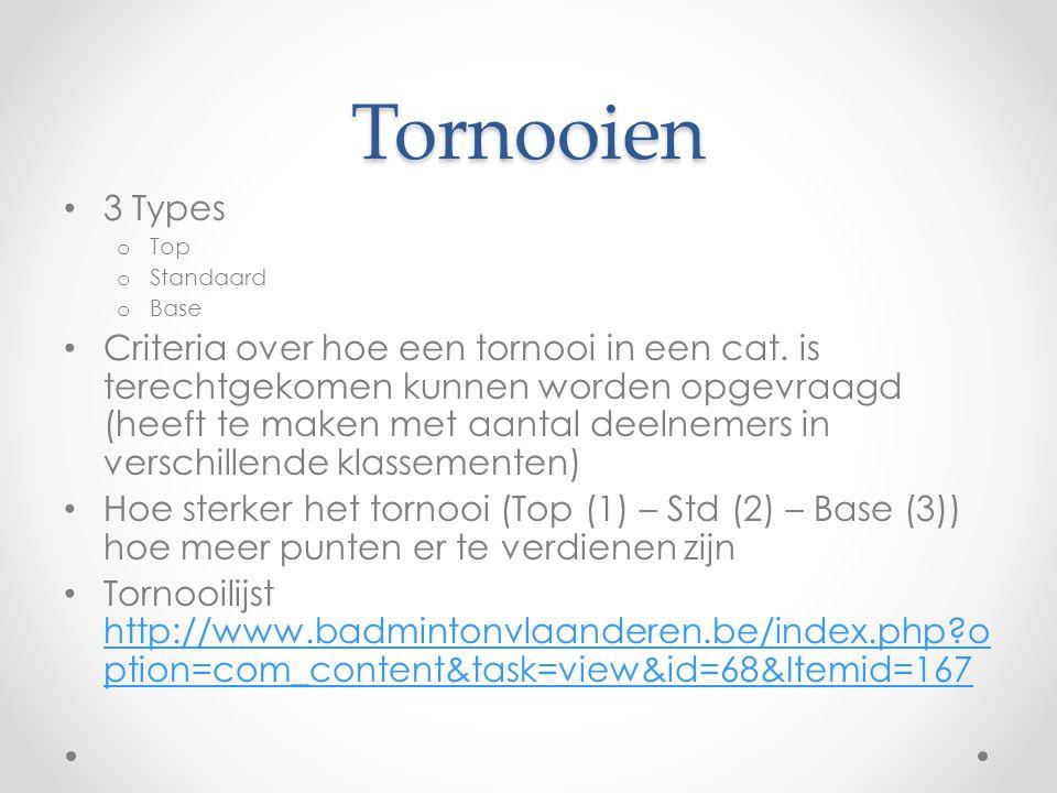Tornooien • 3 Types o Top o Standaard o Base • Criteria over hoe een tornooi in een cat.