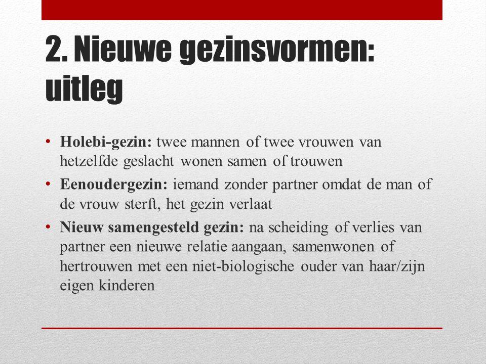 2. Nieuwe gezinsvormen: uitleg • Holebi-gezin: twee mannen of twee vrouwen van hetzelfde geslacht wonen samen of trouwen • Eenoudergezin: iemand zonde