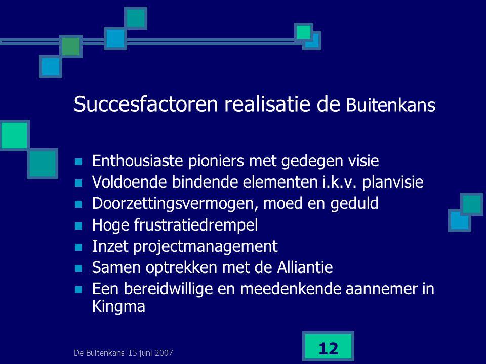 De Buitenkans 15 juni 2007 12 Succesfactoren realisatie de Buitenkans  Enthousiaste pioniers met gedegen visie  Voldoende bindende elementen i.k.v.