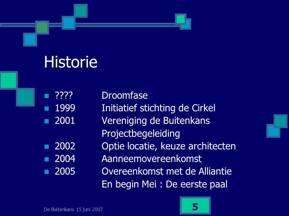 De Buitenkans 15 juni 2007 5 Historie  Droomfase  1999Initiatief stichting de Cirkel  2001Vereniging de Buitenkans Projectbegeleiding  2002Optie locatie, keuze architecten  2004Aanneemovereenkomst  2005Overeenkomst met de Alliantie En begin Mei : De eerste paal