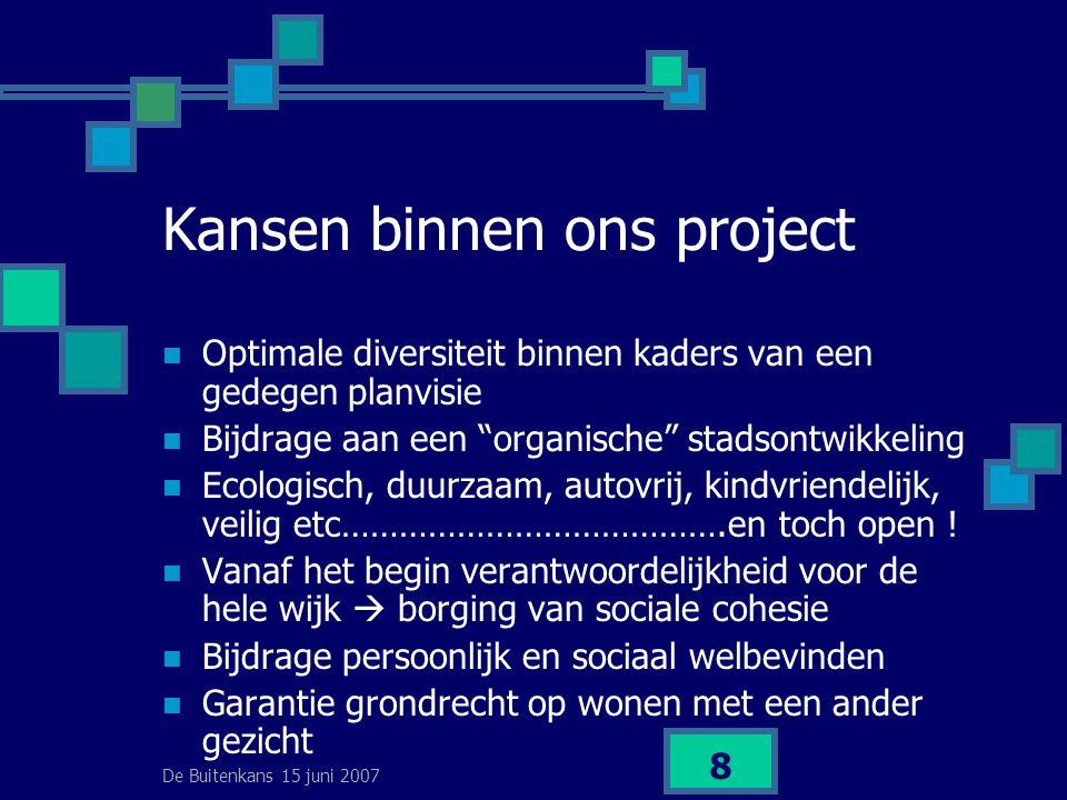 De Buitenkans 15 juni 2007 8 Kansen binnen ons project  Optimale diversiteit binnen kaders van een gedegen planvisie  Bijdrage aan een organische stadsontwikkeling  Ecologisch, duurzaam, autovrij, kindvriendelijk, veilig etc………………………………….en toch open .