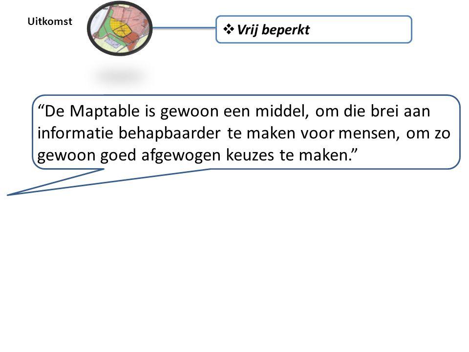 Uitkomst  Vrij beperkt De Maptable is gewoon een middel, om die brei aan informatie behapbaarder te maken voor mensen, om zo gewoon goed afgewogen keuzes te maken.