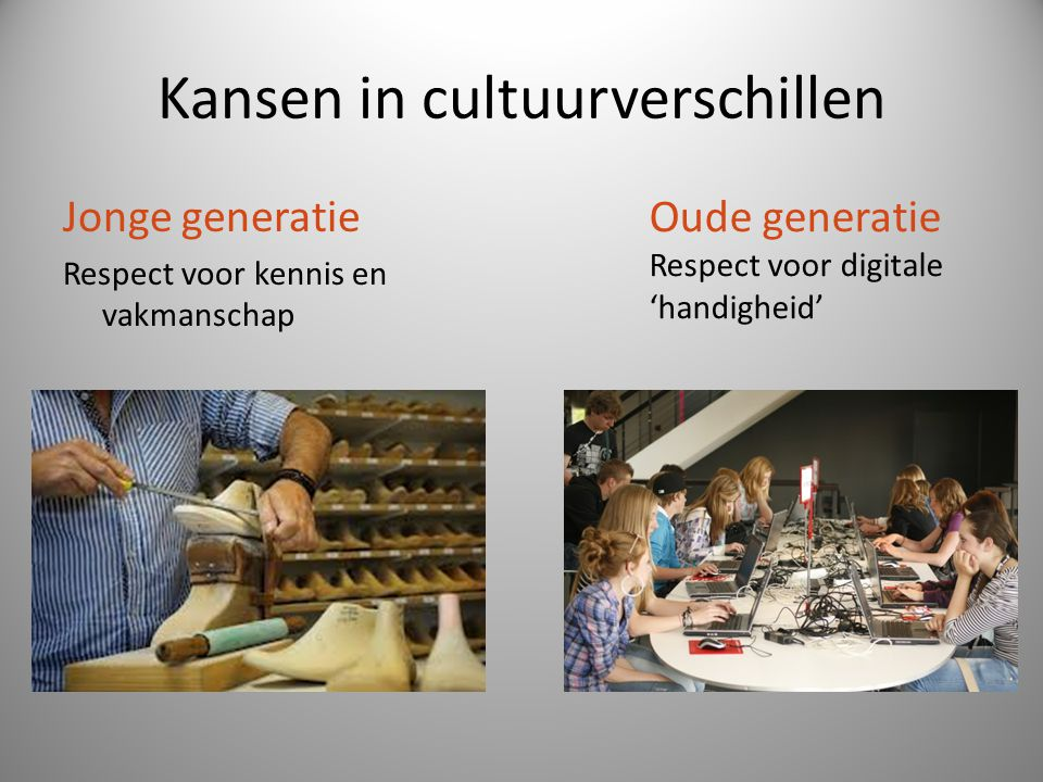 Kansen in cultuurverschillen Jonge generatie Respect voor kennis en vakmanschap Oude generatie Respect voor digitale 'handigheid'