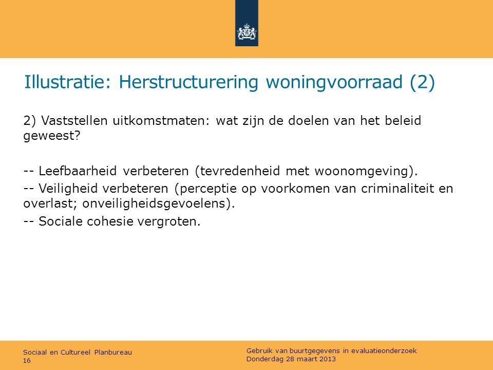Sociaal en Cultureel Planbureau Illustratie: Herstructurering woningvoorraad (2) 2) Vaststellen uitkomstmaten: wat zijn de doelen van het beleid gewee