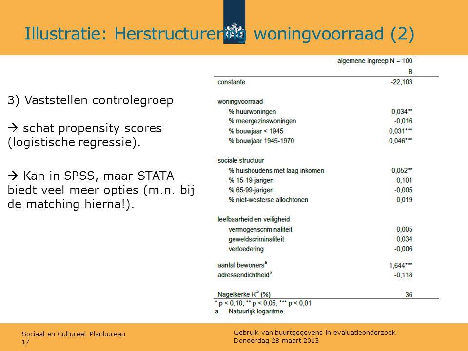 Sociaal en Cultureel Planbureau 3) Vaststellen controlegroep  schat propensity scores (logistische regressie).  Kan in SPSS, maar STATA biedt veel m