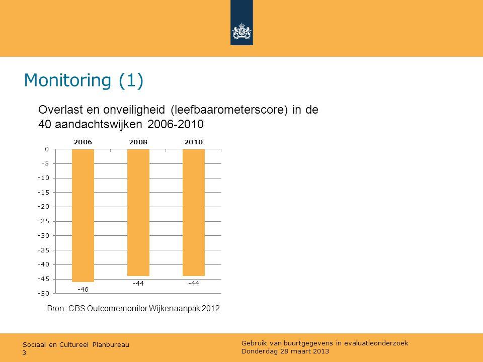 Sociaal en Cultureel Planbureau Monitoring (1) 3 Overlast en onveiligheid (leefbaarometerscore) in de 40 aandachtswijken 2006-2010 Bron: CBS Outcomemo