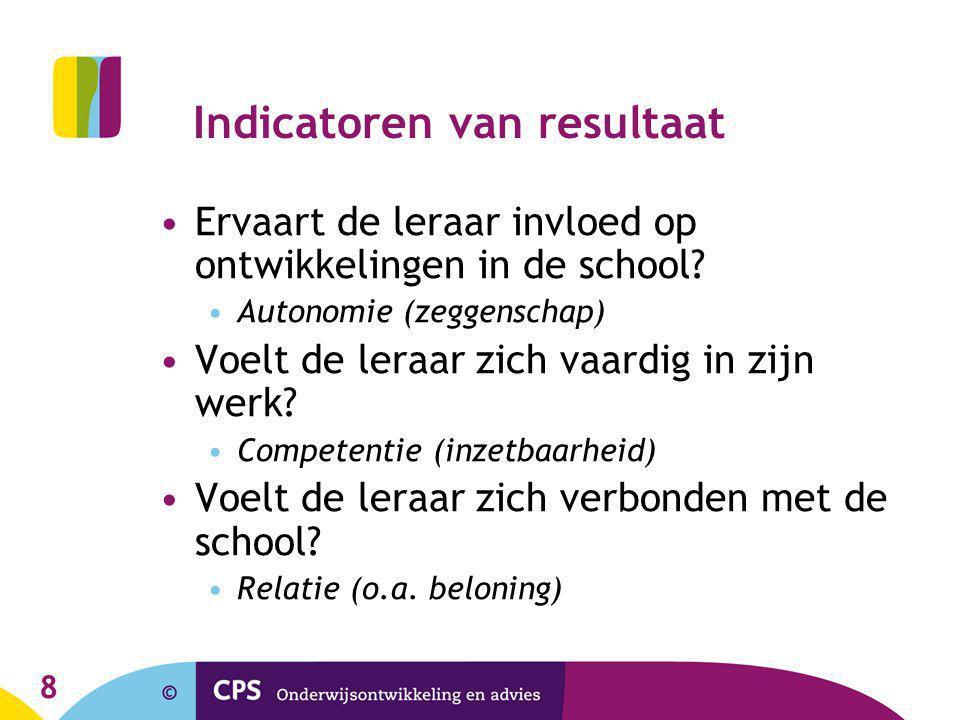 8 Indicatoren van resultaat •Ervaart de leraar invloed op ontwikkelingen in de school.