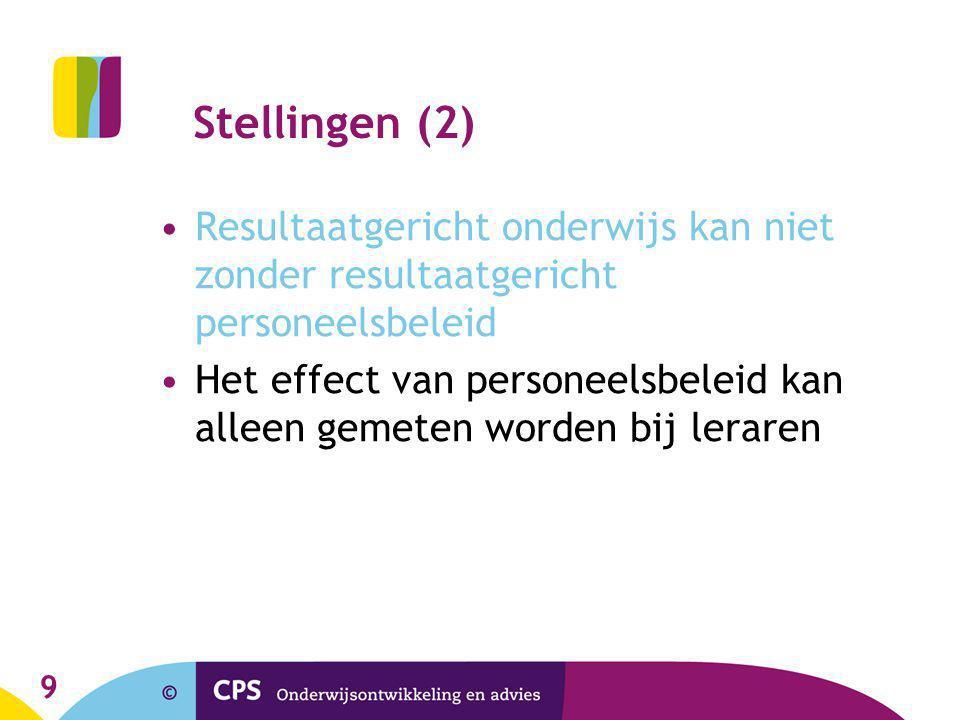 9 Stellingen (2) •Resultaatgericht onderwijs kan niet zonder resultaatgericht personeelsbeleid •Het effect van personeelsbeleid kan alleen gemeten worden bij leraren