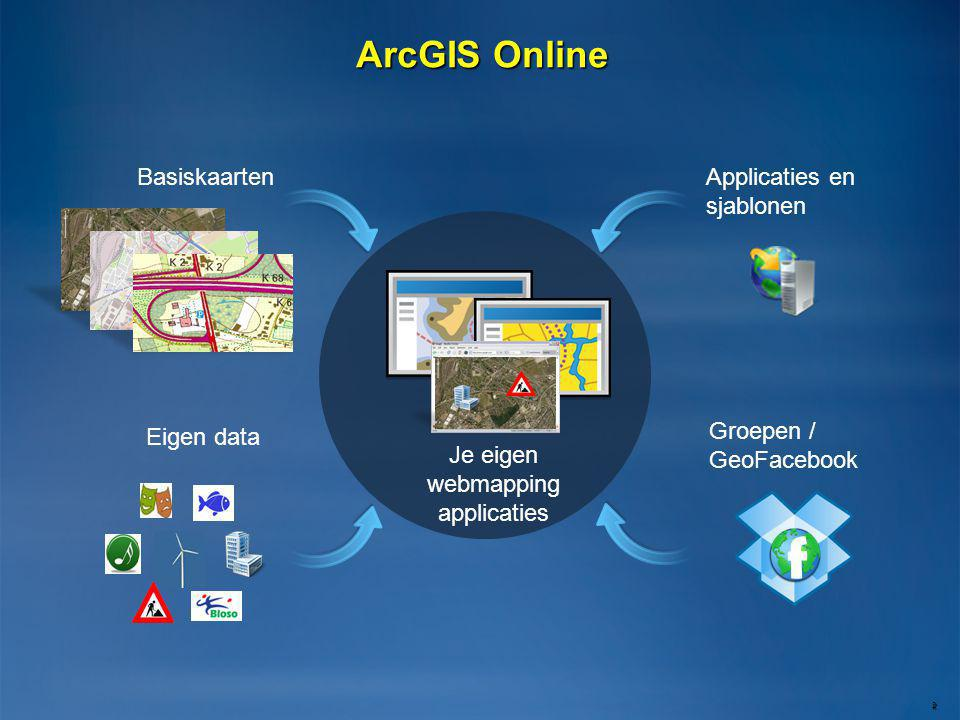 ArcGIS Online 2 Applicaties en sjablonen Groepen / GeoFacebook Basiskaarten Eigen data f Je eigen webmapping applicaties