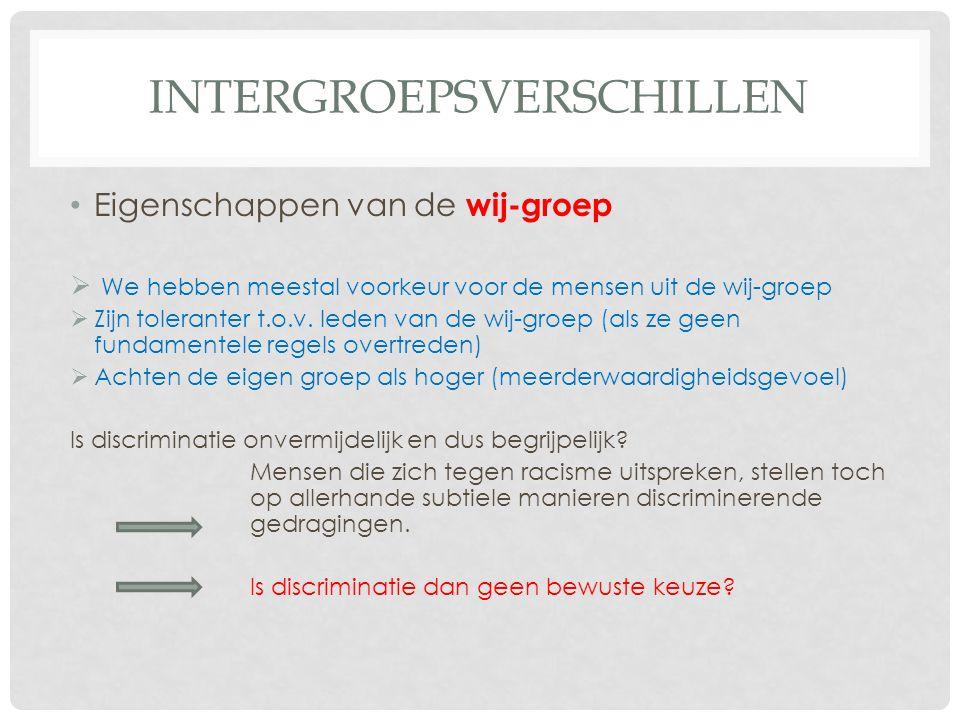 INTERGROEPSVERSCHILLEN • Eigenschappen van de wij-groep  We hebben meestal voorkeur voor de mensen uit de wij-groep  Zijn toleranter t.o.v. leden va