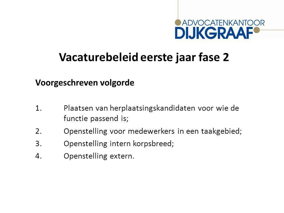 Vacaturebeleid eerste jaar fase 2 Voorgeschreven volgorde 1.Plaatsen van herplaatsingskandidaten voor wie de functie passend is; 2.Openstelling voor medewerkers in een taakgebied; 3.Openstelling intern korpsbreed; 4.Openstelling extern.