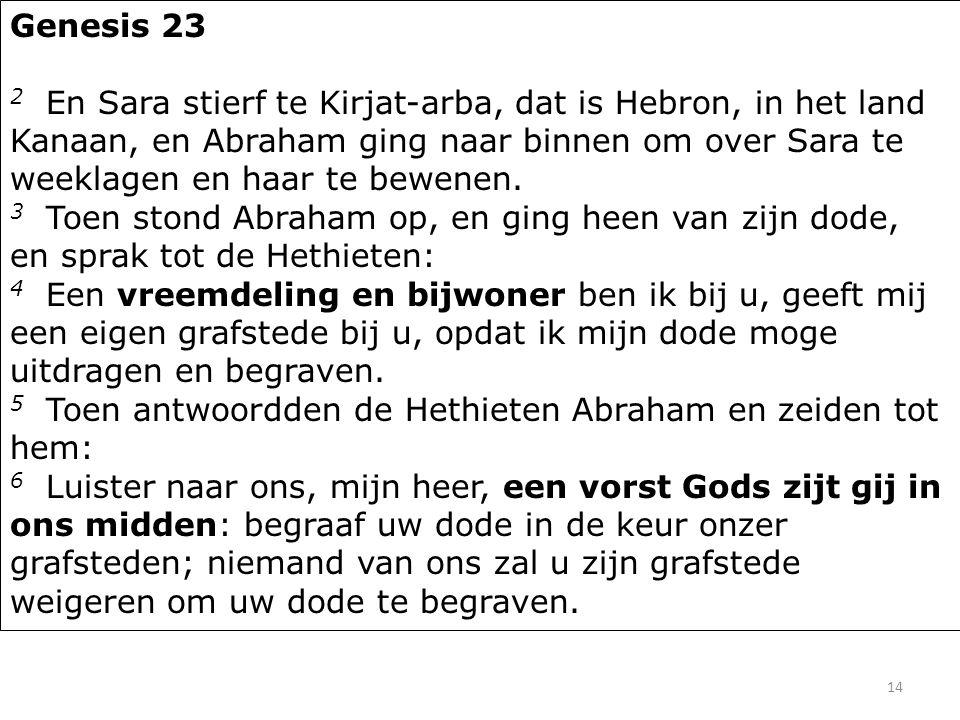 14 Genesis 23 2 En Sara stierf te Kirjat-arba, dat is Hebron, in het land Kanaan, en Abraham ging naar binnen om over Sara te weeklagen en haar te bew