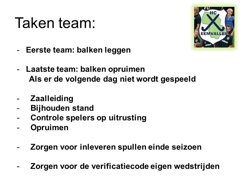 Taken team: -Eerste team: balken leggen -Laatste team: balken opruimen Als er de volgende dag niet wordt gespeeld -Zaalleiding -Bijhouden stand -Contr