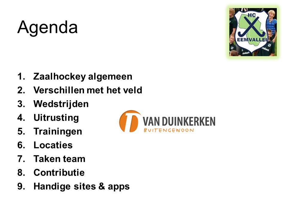 Agenda 1.Zaalhockey algemeen 2.Verschillen met het veld 3.Wedstrijden 4.Uitrusting 5.Trainingen 6.Locaties 7.Taken team 8.Contributie 9.Handige sites & apps