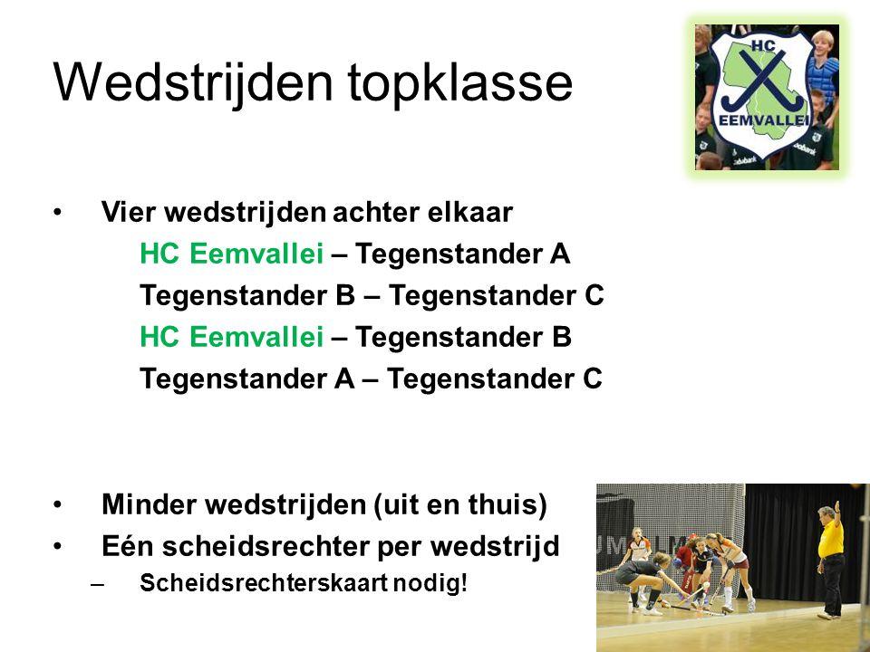 Wedstrijden topklasse •Vier wedstrijden achter elkaar HC Eemvallei – Tegenstander A Tegenstander B – Tegenstander C HC Eemvallei – Tegenstander B Tegenstander A – Tegenstander C •Minder wedstrijden (uit en thuis) •Eén scheidsrechter per wedstrijd –Scheidsrechterskaart nodig!