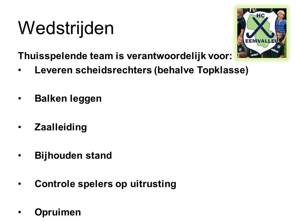 Wedstrijden Thuisspelende team is verantwoordelijk voor: •Leveren scheidsrechters (behalve Topklasse) •Balken leggen •Zaalleiding •Bijhouden stand •Controle spelers op uitrusting •Opruimen