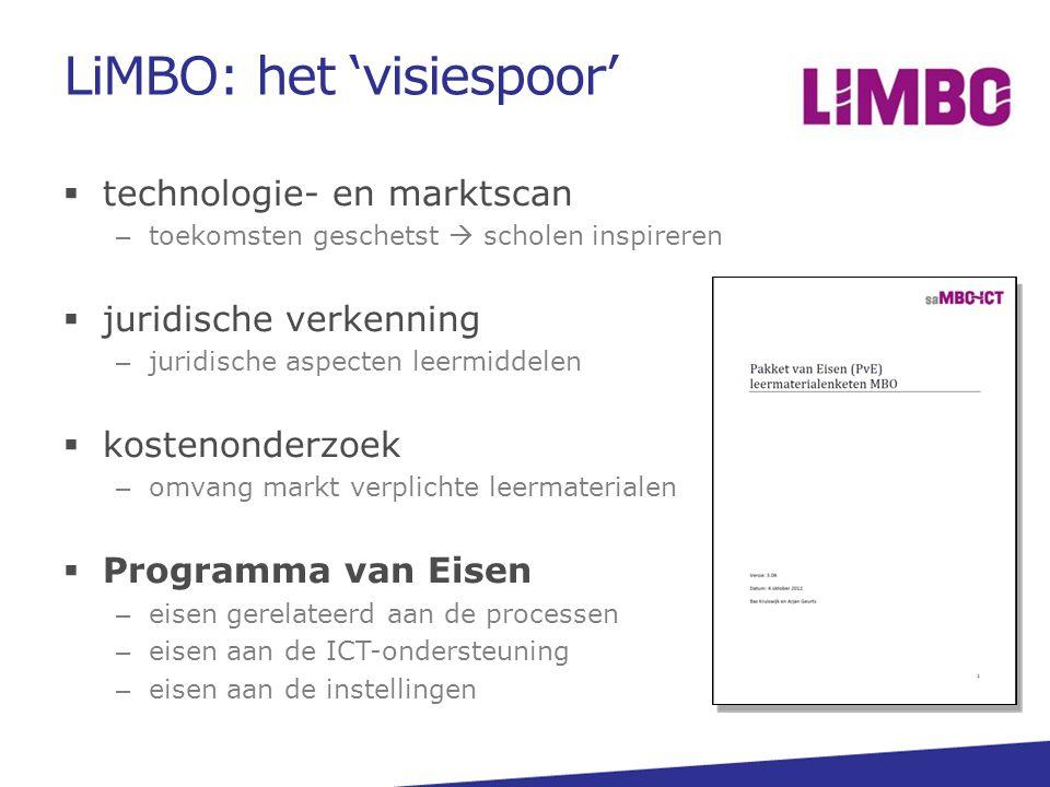 LiMBO: het 'visiespoor'  technologie- en marktscan – toekomsten geschetst  scholen inspireren  juridische verkenning – juridische aspecten leermidd