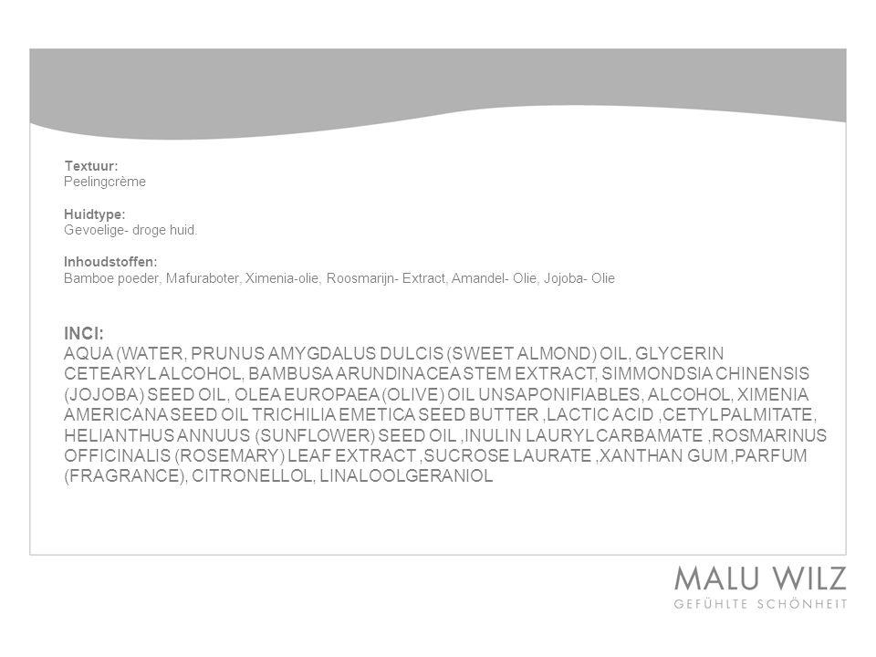 Textuur: Peelingcrème Huidtype: Gevoelige- droge huid.
