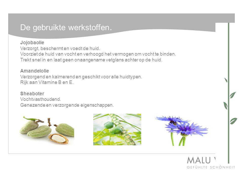Vervolg werkstoffen Hyaluron Voorziet de huid van vocht, kan vele malen zijn eigen gewicht aan vocht in de huid binden.