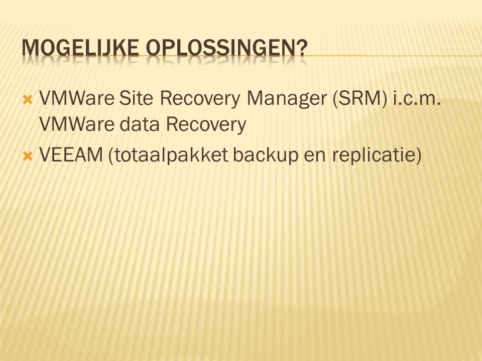  VMWare Site Recovery Manager (SRM) i.c.m.