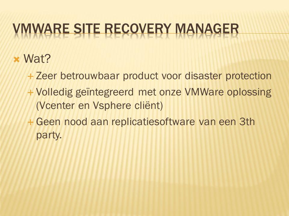  Voordelen:  Zeer eenvoudige replicatie met als centraal punt de Vcenter server  Goede ondersteuning van SAN vendors  Kan een traditioneel DR plan volledig vervangen door de automatisatie.