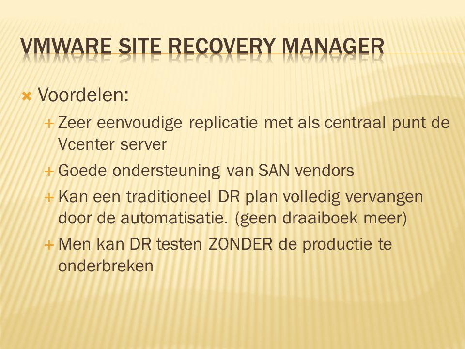  Voordelen (deel 2)  Het recovery proces gaat geheel automatisch.