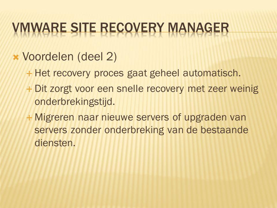  Nadelen:  Om deze software te gebruiken dient je san hardware replicatie te ondersteunen.
