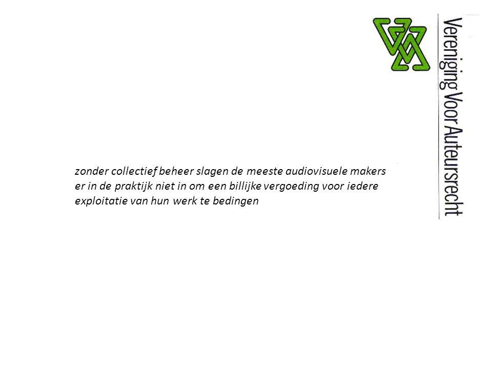 zonder collectief beheer slagen de meeste audiovisuele makers er in de praktijk niet in om een billijke vergoeding voor iedere exploitatie van hun werk te bedingen