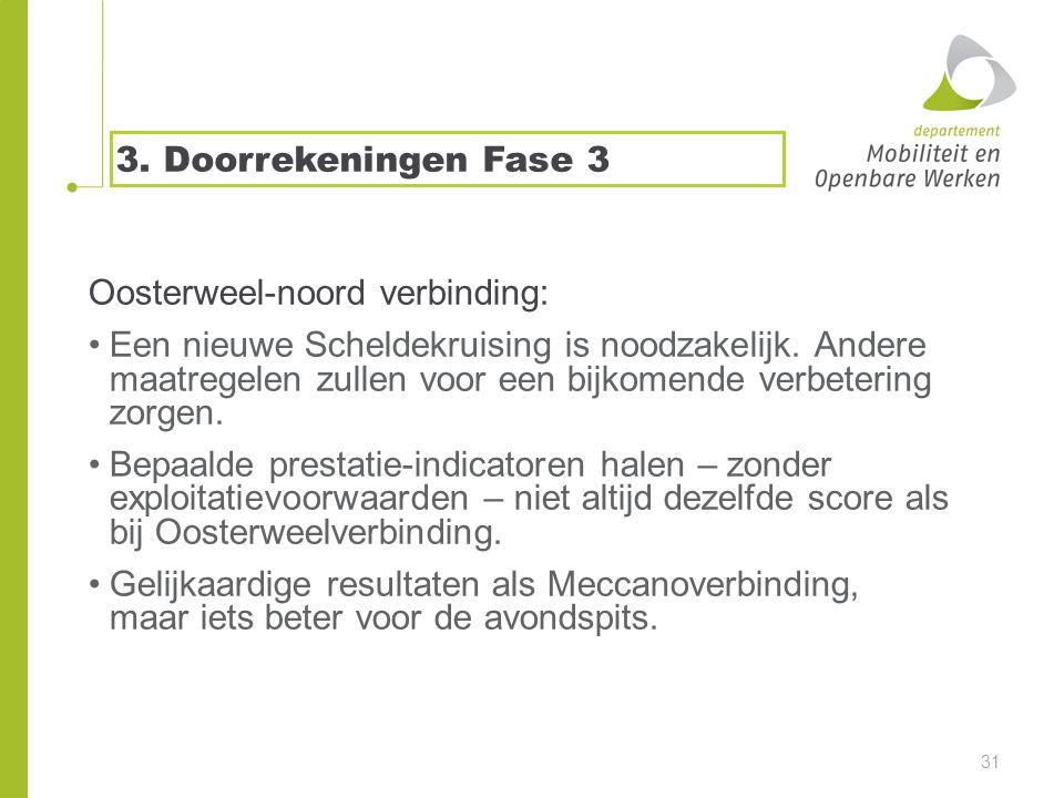 3. Doorrekeningen Fase 3 Oosterweel-noord verbinding: •Een nieuwe Scheldekruising is noodzakelijk.