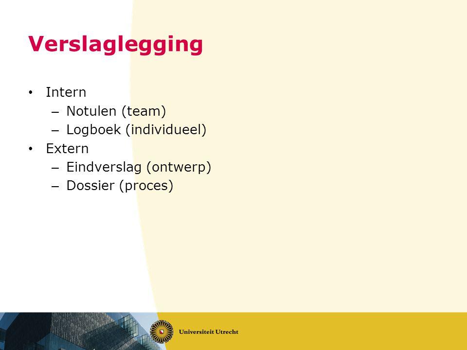 Verslaglegging • Intern – Notulen (team) – Logboek (individueel) • Extern – Eindverslag (ontwerp) – Dossier (proces)