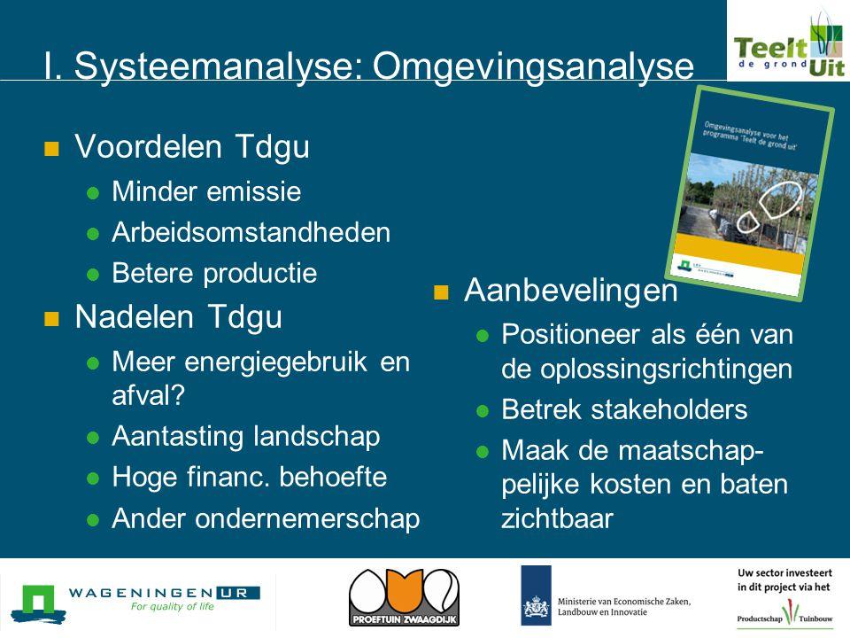 I. Systeemanalyse: Omgevingsanalyse  Voordelen Tdgu  Minder emissie  Arbeidsomstandheden  Betere productie  Nadelen Tdgu  Meer energiegebruik en