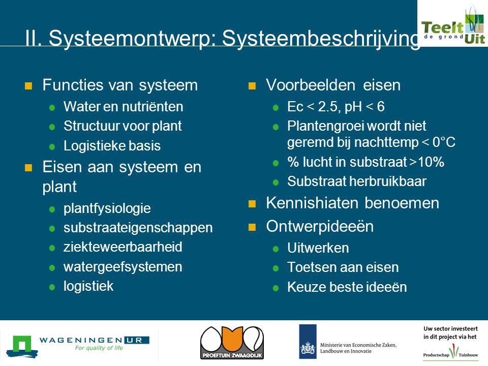 II. Systeemontwerp: Systeembeschrijving  Functies van systeem  Water en nutriënten  Structuur voor plant  Logistieke basis  Eisen aan systeem en