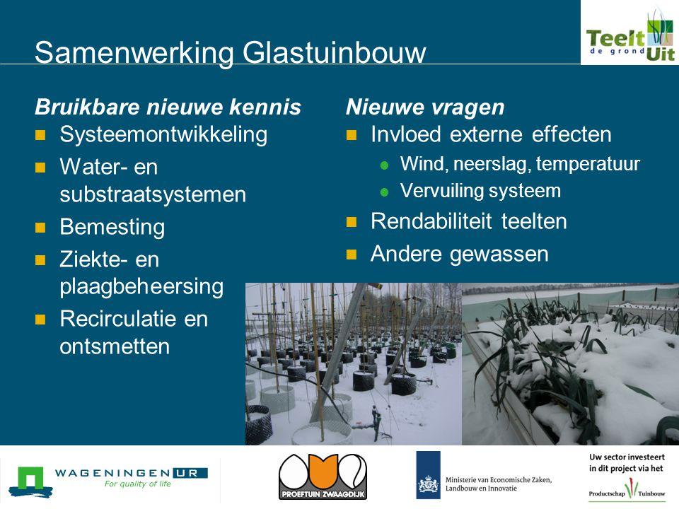 Samenwerking Glastuinbouw Bruikbare nieuwe kennis  Systeemontwikkeling  Water- en substraatsystemen  Bemesting  Ziekte- en plaagbeheersing  Recir