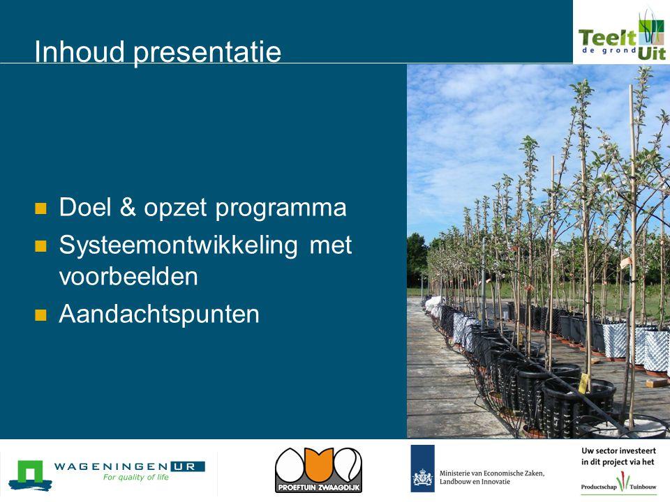 Aanleiding LNV  Vollegrondstuinbouw op zand te veel emissie  Aan Nitraatrichtlijn en KRW kan niet worden voldaan Sector  Beter voldoen aan marktvraag  Oplossen teeltproblemen  Oplossen arbeidsproblemen