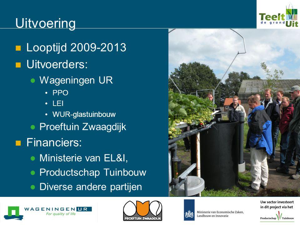 Uitvoering  Looptijd 2009-2013  Uitvoerders:  Wageningen UR •PPO •LEI •WUR-glastuinbouw  Proeftuin Zwaagdijk  Financiers:  Ministerie van EL&I,