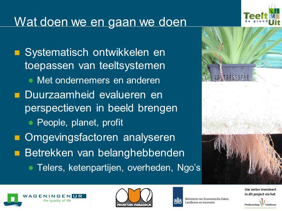 Wat doen we en gaan we doen  Systematisch ontwikkelen en toepassen van teeltsystemen  Met ondernemers en anderen  Duurzaamheid evalueren en perspec