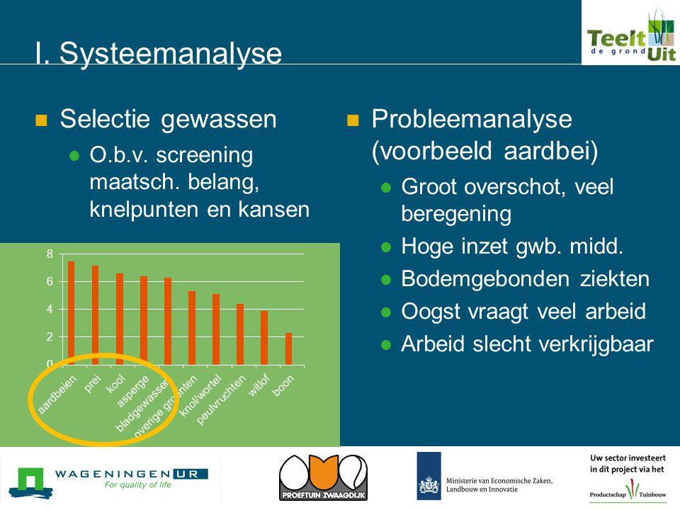 I. Systeemanalyse  Selectie gewassen  O.b.v. screening maatsch. belang, knelpunten en kansen  Probleemanalyse (voorbeeld aardbei)  Groot overschot