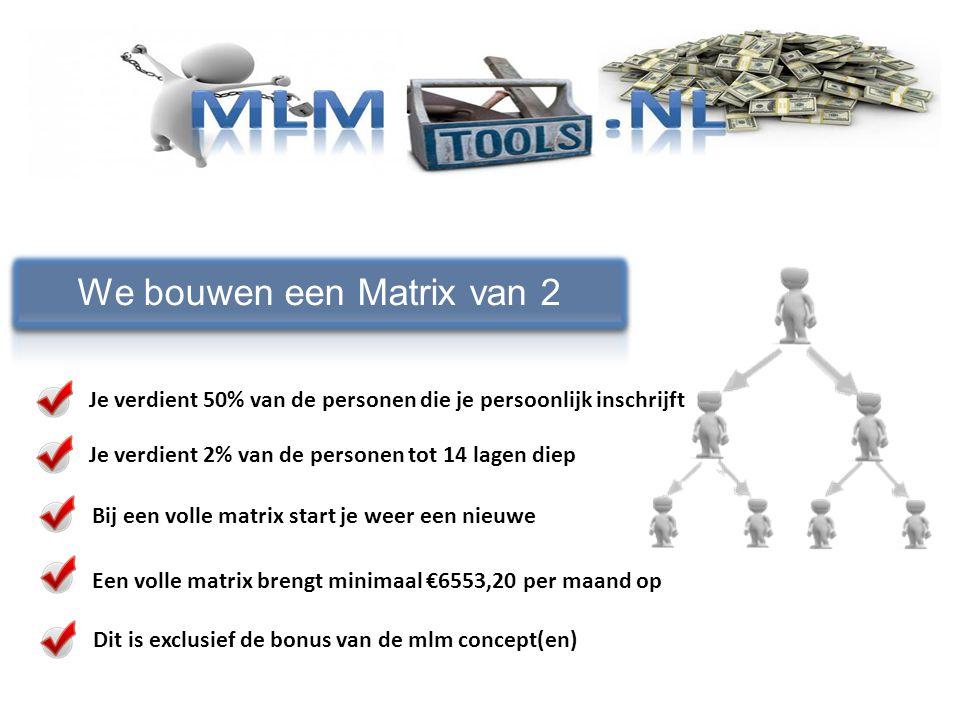 We bouwen een Matrix van 2 Je verdient 50% van de personen die je persoonlijk inschrijft Je verdient 2% van de personen tot 14 lagen diep Bij een voll