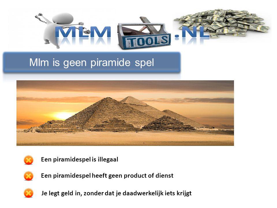 Mlm is geen piramide spel Een piramidespel is illegaal Een piramidespel heeft geen product of dienst Je legt geld in, zonder dat je daadwerkelijk iets