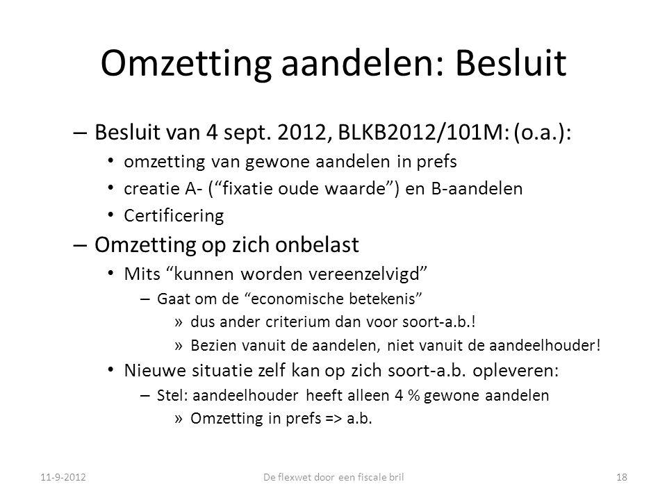 Omzetting aandelen: Besluit – Besluit van 4 sept.