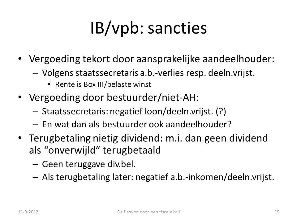 IB/vpb: sancties • Vergoeding tekort door aansprakelijke aandeelhouder: – Volgens staatssecretaris a.b.-verlies resp.