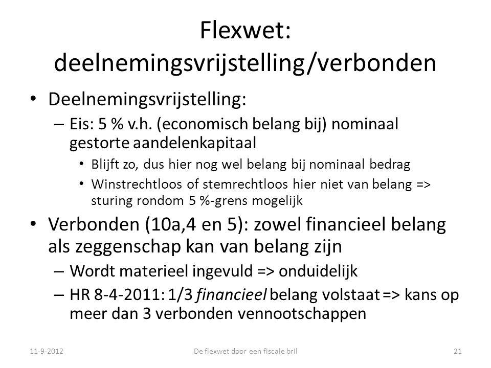 Flexwet: deelnemingsvrijstelling/verbonden • Deelnemingsvrijstelling: – Eis: 5 % v.h.