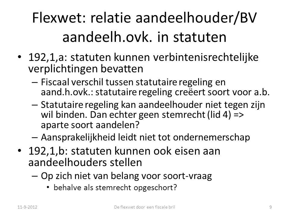 Flexwet: relatie aandeelhouder/BV aandeelh.ovk.