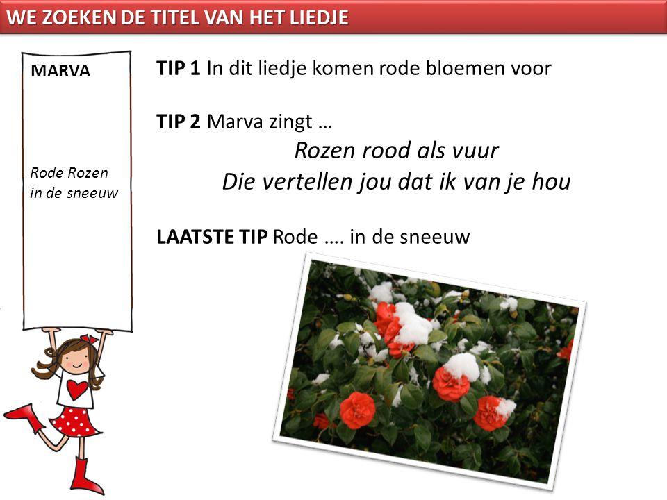 TIP 1 In dit liedje komen rode bloemen voor TIP 2 Marva zingt … Rozen rood als vuur Die vertellen jou dat ik van je hou LAATSTE TIP Rode …. in de snee