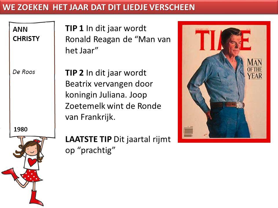"""TIP 1 In dit jaar wordt Ronald Reagan de """"Man van het Jaar"""" TIP 2 In dit jaar wordt Beatrix vervangen door koningin Juliana. Joop Zoetemelk wint de Ro"""