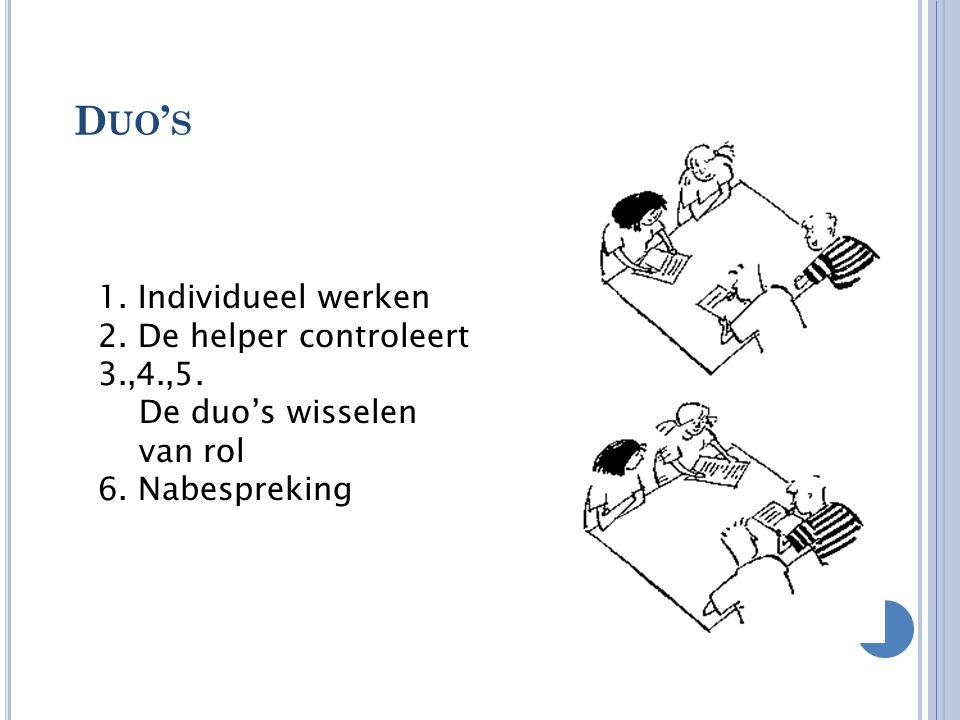 D UO ' S 1. Individueel werken 2. De helper controleert 3.,4.,5. De duo's wisselen van rol 6. Nabespreking